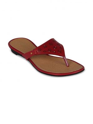 Buy Flora Maroon Synthetic Leather  Flat Slip online