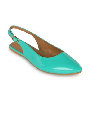 Buy Flora Green Synthetic Leather  Flat Sandal For Women online