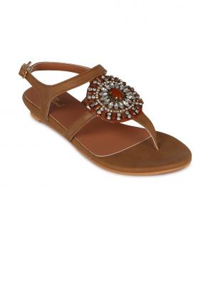 Buy Flora Tan Synthetic Leather  Flat Sandal For Women online
