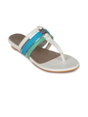 Buy Flora White Synthetic Leather  Flat Slip online