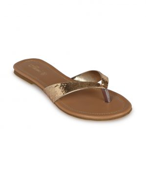 Buy Flora Gold Synthetic Leather  Flat Slip online