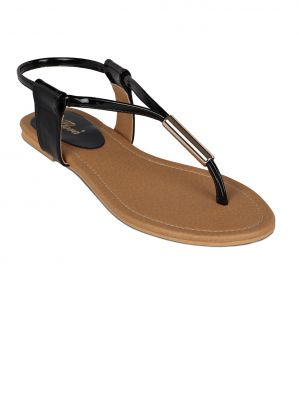 Buy Flora Black Synthetic Leather Flat Sandal For Women - (product Code - Pf-0112-01) online