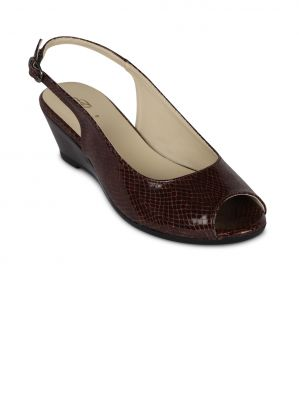Buy Flora Brown Synthetic Leather Wedges Sandal For Women - (product Code - Pf-1002-06) online