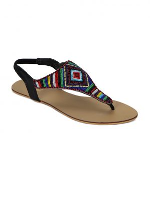 Buy Flora Black Synthetic Leather Sandal For Women online