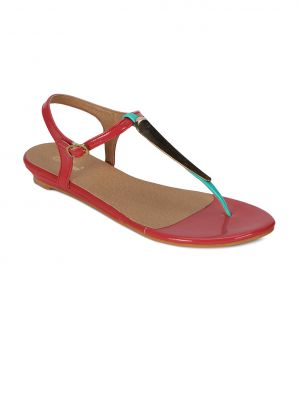 Buy Flora Red Synthetic Leather Sandal For Women - (product Code - Pf-4000-05) online