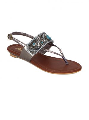Buy Flora Gold Synthetic Leather Sandal For Women online