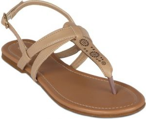 Buy Flora Beige Synthetic Leather  Flat Sandal For Women online