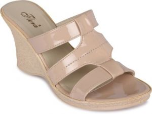 Buy Flora Khaki Synthetic Leather Wedges Sandal For Women online