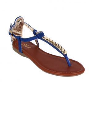 Buy Flora Blue Suede Flat Sandal For Women - (product Code - Pf-0123-18) online