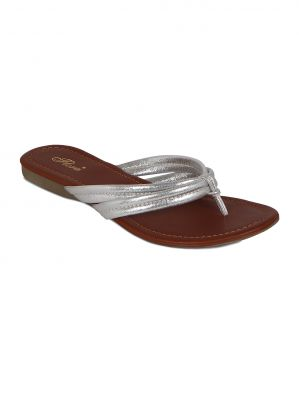 Buy Flora Silver Synthetic Leather Flat Slip online