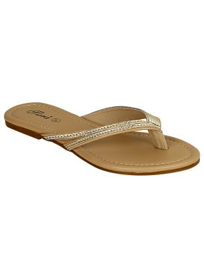 Buy Flora Comfort Golden Flat Slippers (code - Pf-0138-31) online