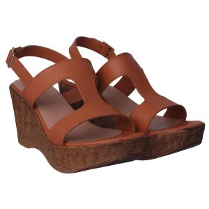 Buy Flora Comfort Wedge Heeled Tan Sandals (code - Pf-1021-07) online