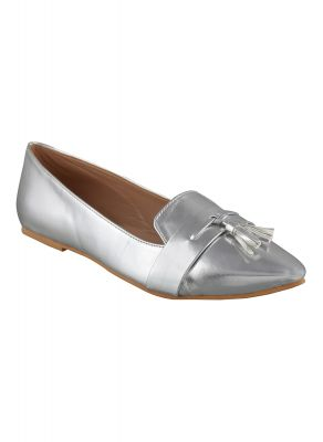 Buy Flora Silver Pointed Belly Shoe online