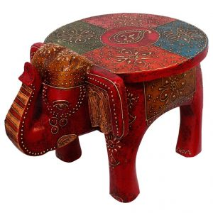 Buy Designer Wooden Elephant Stool Handicraft Gift online