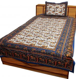 7d9dc08f321 Buy Pioneerpragati Multi Color Ethnic Rajasthani Elephant Print Pure Cotton  Single Bedsheet Set online