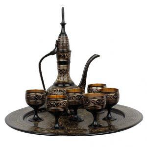 Antique Royal Wine Set Black Metal Handicraft