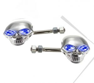 Buy Capeshoppers Chrome Skull Indicator Set Of 2 For Honda CD 110 Dream - Blue online