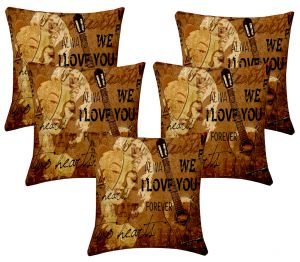 Buy Lushomes Digital Print Music Cushion Covers (pack Of 5) online