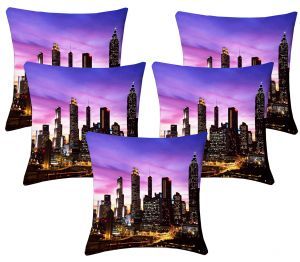 Buy Lushomes Digital Print City Life Cushion Covers (pack Of 5) online