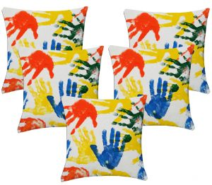 Buy Lushomes Digital Print Finger Prints Cushion Covers (pack Of 5) online