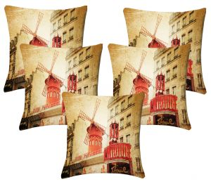 Buy Lushomes Digital Print Windmill Cushion Covers (pack Of 5) online