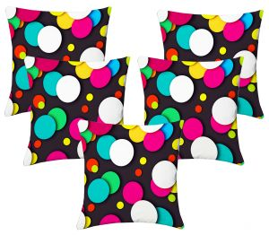 Buy Lushomes Digital Print Round Design Cushion Covers (pack Of 5) online