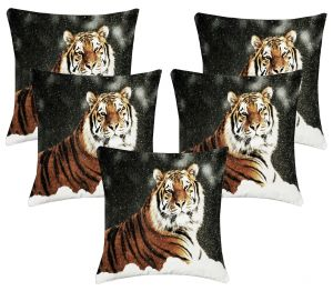 Buy Lushomes Digital Print Tiger Cushion Covers (pack Of 5) online