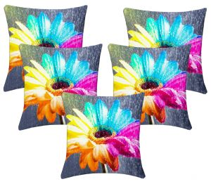 Buy Lushomes Digital Print Creative Flower Cushion Covers (pack Of 5) online