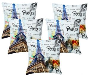 Buy Lushomes Digital Print Bonjour Cushion Covers (pack Of 5) online