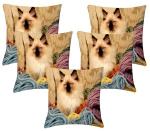 Buy Lushomes Digital Print Pussy Cushion Covers (pack Of 5) online