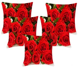 Buy Lushomes Digital Print Red Roses Cushion Covers (pack Of 5) online