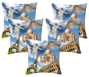 Buy Lushomes Digital Print Wonders Of The World Cushion Covers (pack Of 5) online