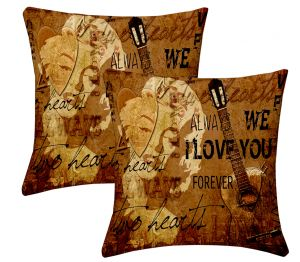 Buy Lushomes Digital Print Music Cushion Covers (pack Of 2) online