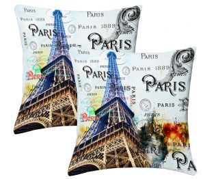 Buy Lushomes Digital Print Bonjour Cushion Covers (pack Of 2) online