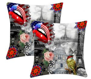 Buy Lushomes Digital Print Sketch Cushion Covers (pack Of 2) online