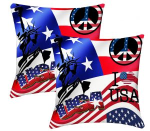 Buy Lushomes Digital Print Usa Cushion Covers (pack Of 2) online