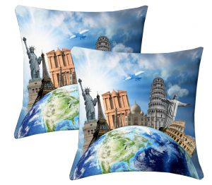 Buy Lushomes Digital Print Around The World Cushion Covers (pack Of 2) online