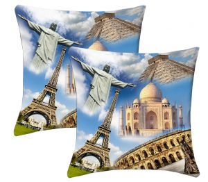 Buy Lushomes Digital Print Wonders Of The World Cushion Covers (pack Of 2) online