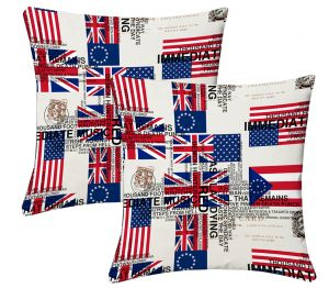 Buy Lushomes Digital Print Flags Cushion Covers (pack Of 2) online