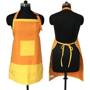 Buy Lushomes Cotton Lemon Chrome And Sun Orange Bi-color Apron_coapb1003 online