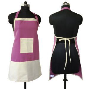 Buy Lushomes Cotton Bordeaux And Ecru Bi-color Apron_coapb1006 online