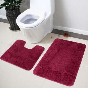 Buy Lushomes Soft Burgundy Large Bath Mat Set (1pc Bathmat + 1pc Contour) online