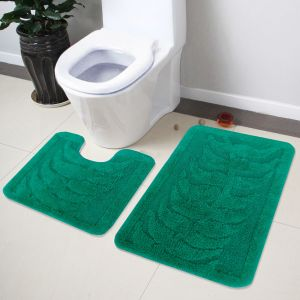 Buy Lushomes Soft Green Regular Bath Mat Set (1pc Bathmat + 1pc Contour) online