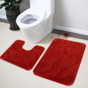 Buy Lushomes Soft Tabassco Medium Bath Mat Set (1 PC Bathmat + 1 PC Contour) online