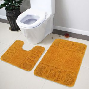 Buy Lushomes Soft Yellow Medium Bath Mat Set (1 PC Bathmat + 1 PC Contour) online