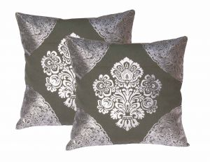 Buy Lushomes Green Cushion Covers With Silver Foil Print (pack Of 2) online