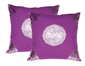 Buy Lushomes Violet Cushion Covers With Silver Foil Print (pack Of 2) online