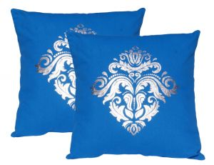 Buy Lushomes Royal Blue Cushion Covers With Silver Foil Print (pack Of 2) online
