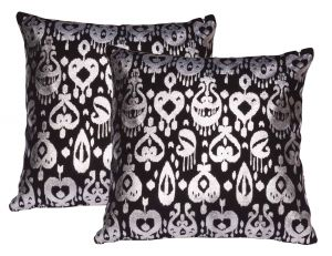 Buy Lushomes Black Cushion Covers With Silver Foil Print (pack Of 2) online