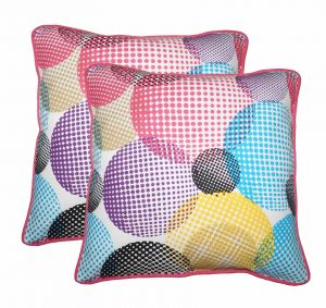 Buy Lushomes Circles Print Cotton Cushion Covers Pack of 2 online